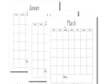 A3 Portrait Yearly Calendar, Cute Font Wall Planner, Printable Calendar, Yearly Calendar, DIY Calendar Planner, PDF Calendar Template