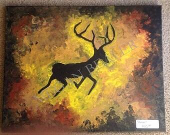 Antlers Deer Painting Original Artwork Acrylic Art Gift