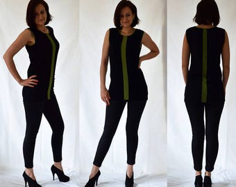 Black, green, sleeveless top, blouse, tunic, comfortable, jersey, stretch, Size UK 10, 12 / US 6, 8