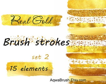 Real Gold Brush strokes clipart 2 - Commercial use gold glitter watercolor paint stripes stroke glamour shine brilliant wedding background