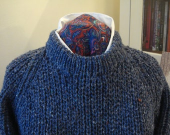 Round Neck Aran Sweater Hand Knit in Pure New Wool Denim Blue Large
