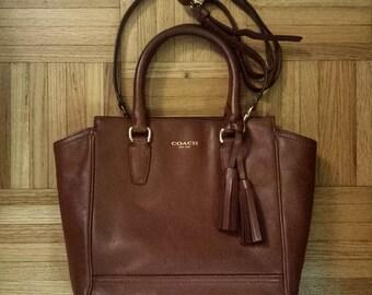 1990's Coach Mini Tanner crossbody handbag or purse - medium brown (Cognac)