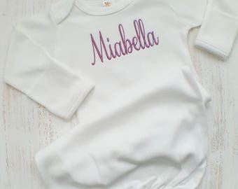 Personalized baby girl sleeper gown- baby girl sleeper, baby gift, embroidered sleeper, newborn sleeper gown, layette gown, mauve baby
