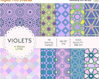 80% Until New Year - Violets digital paper: lavender, pink and blue flowers in spring background, floral scrapbook paper · 300dpi · supplies