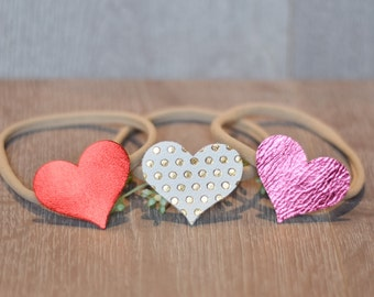 Single Heart Headband, PICK YOUR COLOR, Leather Heart, Valentine Headband, Baby's first valentines