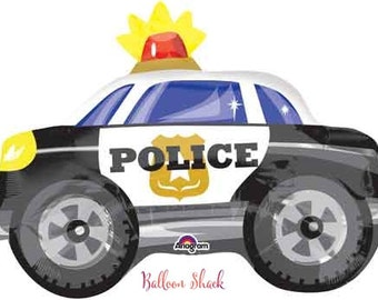 "Police Balloon-18"" Balloon- Police Car- Heroes Birthday Party- Birthday Balloon"