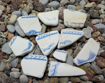 Sea Pottery  -Set of 10 pieces - Beach Pottery Shards - Beach finds #20