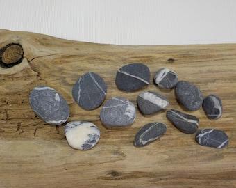 12 White striped  Small/Tiny Beach Stones - Wishing Stones - Sea stone with a white quartz line - Stone Pendant - Decorative Beach Finds#262