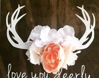 Love you dearly, Rustic decor, Boho decor, Bedroom decor, Nursery decor, Little girls room, Daughters room, baby shower gift