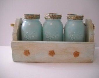 Decorative Box with 3 Blue Mason Jars  Kitchen Decor