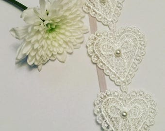 Lace heart baby childrens headband on skinny elastic