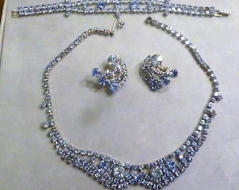 Vintage Blue Rhinestone Jewelry Set