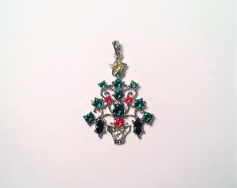 Vintage multi colored beaded necklace with pendant 17 december christmas tree pendant christmas pendant pendant for chain birthday gift silver aloadofball Choice Image