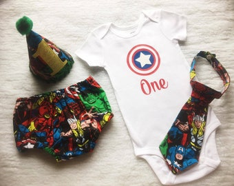 Free Shipping,Captain America,Superheroe,Boy Cake Smash Outfit,Boy 1st Birthday outfit,boy cake smash,Bow Tie and Diaper Cover