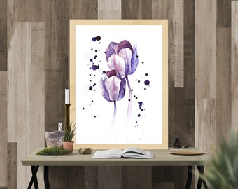 Tulips watercolor print, watercolor flowers, watercolor painting
