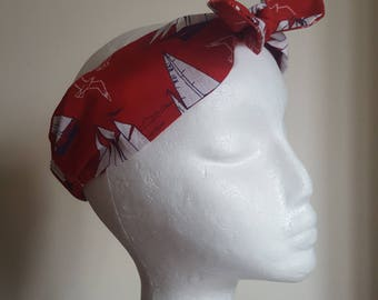 Red Ships Nautical Seaside Wanderlust Fabric Vintage Retro Handmade Hair Band Head Band Bandana Hair Tie Hair Accessories Heavens 2 Betsy