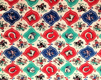 WESTERN RODEO Cowboy Cowgirl Horse Farm Novelty Childrens Kids Boys Girls Baby Animal Red Blue Green White Cotton Fabric