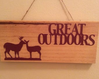 Great Outdoors Rustic Sign