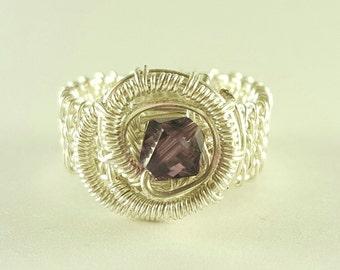 Silver wire woven purple ring