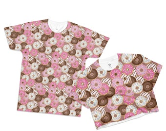 Donut Shirt Donuts Crop Top Donut Print T-Shirt Doughnut Pink Sprinkled