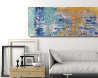 Large paint textured blue and orange spatula made to order