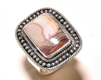 Botswana Agate Sterling Silver Ring, Hand-made