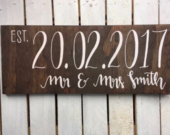 Large Rustic Wooden Surname Wedding Sign