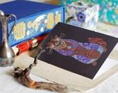 Otter Greeting card, Otter Art Card, Cute Otter Card, Blank Otter Card, Otter Totem Art, Otter Spirit Animal art, Boho art