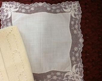 Antique Victorian/Edwardian lace wedding bridal handkerchief