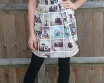 Vintage camera print dress