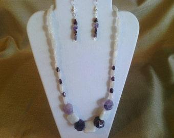 118 Beautiful Natural Amazonite, Garnet, Amethyst and Grey Quartz Beads Beaded Necklace