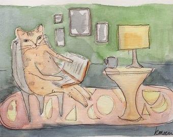 Cat painting, ginger cat, watercolor and ink, original painting, original art