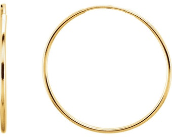 Genuine 14K Yellow Gold 24mm x 1mm  Endless Continuous Hoop Earrings Medium-Large