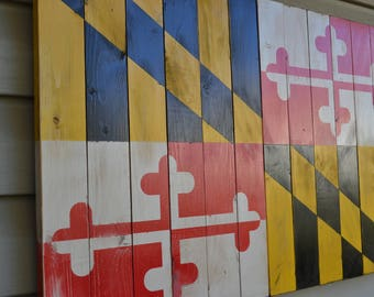 Wooden Maryland Flag, Rustic Flag, Maryland Flag, Vintage Maryland Flag, MD Flag, Weathered Flag, Weathered Maryland Flag, Weathered MD Flag