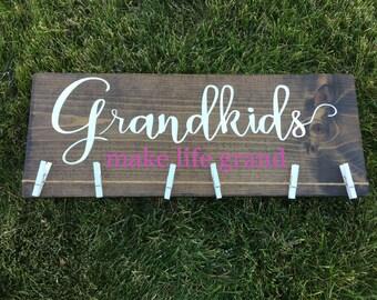 Grandkids Make Life Grand Sign/White and Fuchsia/Grandchildren/Grandparents Gift/Photo Display/Grandma Gift/Grandpa Gift/Pregnancy Reveal