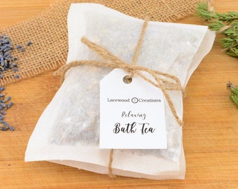 Relaxing Bath Tea, Bath Salts, Bath Soak, Relaxation Gifts, Relax Soak Unwind, Skin Care, Lavender Essential Oil, Herbal Tea, Gift for Her
