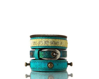 Colours of Life -   Turquoise | 3 In 1, Handmade, Genuine Leather, Bracelet, Print, Quote, Blue, Green