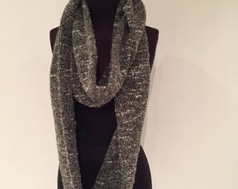 Olive Boucle infinity scarf, 268cm full loop