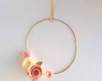 Felt Flower Wreath - Nursery Decor - Wall Hanging Decor - Gold Hoop Wreath - Pink Nursery Wall Hanging