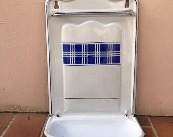 Vintage Enamelware white blue Enamel Utensil enameled 30031732