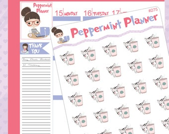 Kitty Coffee Planner Stickers #275
