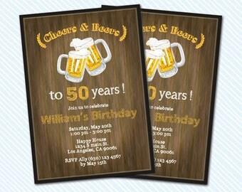 Digital Printable Cheers and Beers birthday invitation. Beer invitation.