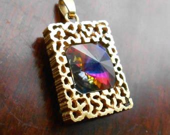 Modernist German Amerik Pendant, Gold Plated, With Rainbow Glass Stone, 1960s