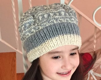 Emelia Hat - the winter look of random snowflakes hand knit from hand spun wool