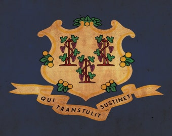 Vintage Connecticut Flag on Canvas, Connecticut Flag, Wall Art, Connecticut Photo, Connecticut Print, Single or Multiple Panels