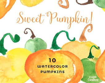 Watercolor Pumpkin Clipart, Autumn Fall clipart, Halloween Party Invitation Graphics, Orange Vegetables, Yellow, Squash, Holidays Background