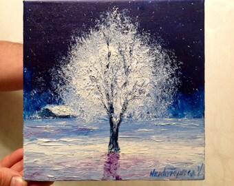 Christmas Gift Winter Tree Painting Miniature Oil Painting Snow Art Small Painting Tree Art Canvas Anniversary Gift Single Tree Painting