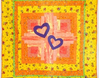 """SALE/DISCOUNT SUNFADED -Bright Country Chicks/Hearts Baby/Toddler/Lap Quilt 55"""" x 58"""" - orange/yellow/green/hearts/chickens/flowers (#Q84)"""