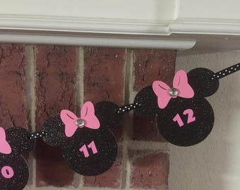12 Month Picture Banner. Hot Pink Minnie Mouse Theme. Photo Banner