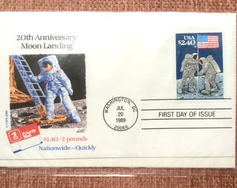 Moon Landing First Day Issue US Postage Stamp FDC 1989 Washington DC